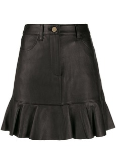 MICHAEL Michael Kors ruffle hem leather skirt