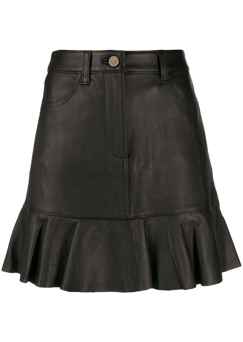 MICHAEL Michael Kors ruffle hem leather skirt