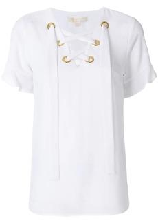 MICHAEL Michael Kors ruffle sleeve lace-up blouse