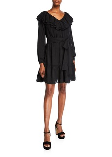 MICHAEL Michael Kors Ruffle V-Neck Long-Sleeve Dress