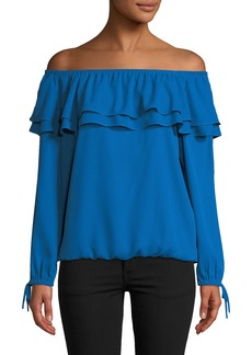 MICHAEL Michael Kors Ruffled Off-the-Shoulder Peasant Blouse