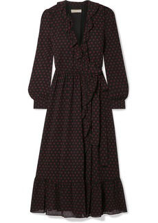 MICHAEL Michael Kors Ruffled Polka-dot Chiffon Wrap Dress
