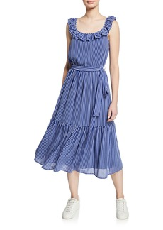 MICHAEL Michael Kors Ruffled Railroad Stripe Midi Dress