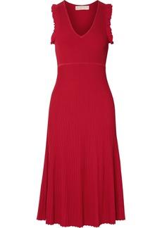 MICHAEL Michael Kors Ruffled Ribbed-knit Midi Dress