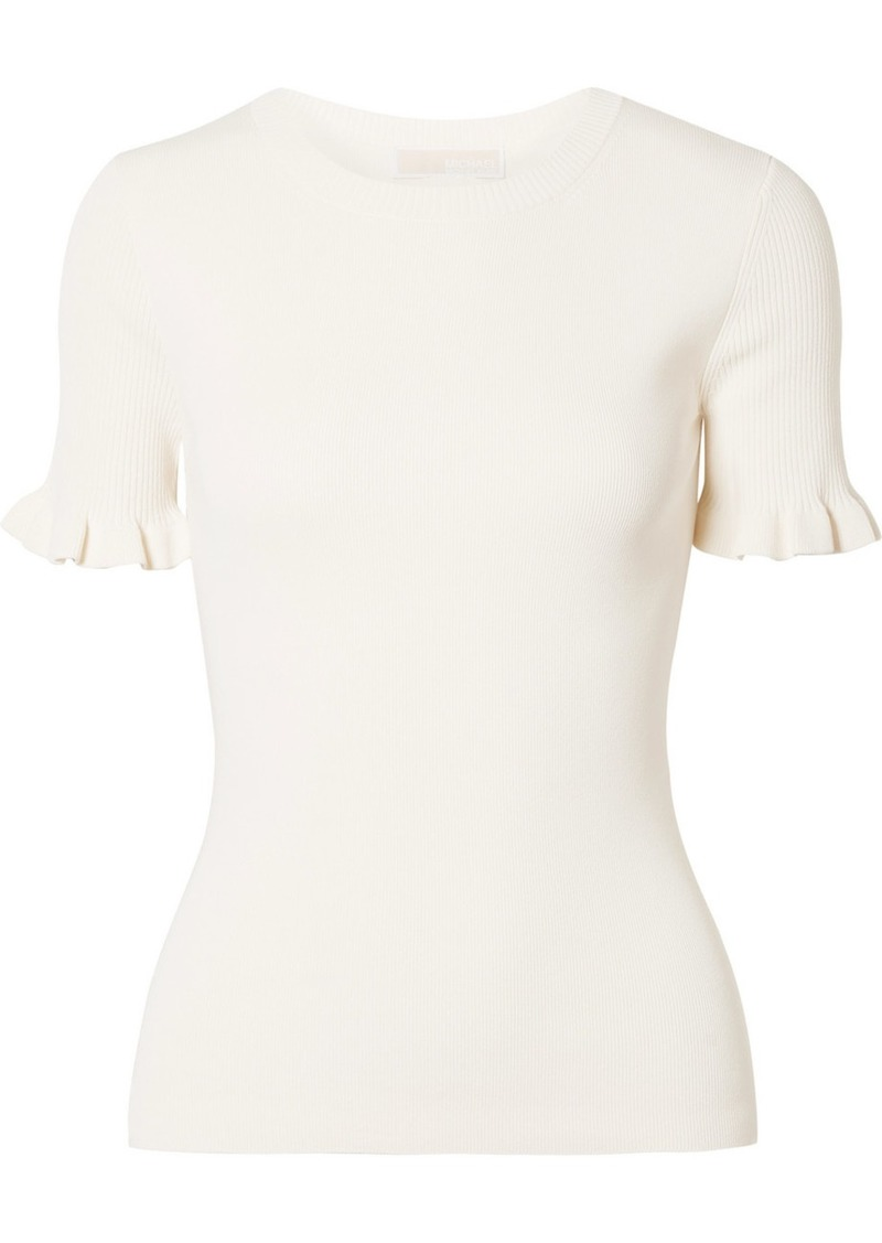 MICHAEL Michael Kors Ruffled Ribbed Stretch-knit Sweater