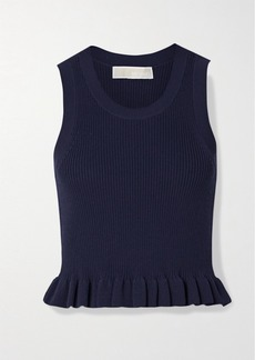 MICHAEL Michael Kors Ruffled Ribbed Stretch-knit Top