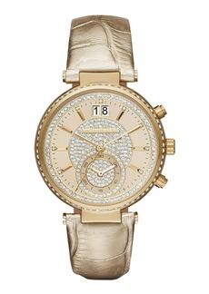MICHAEL Michael Kors Sawyer 39mm Metallic Leather Strap Watch