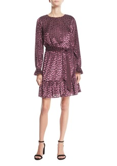 MICHAEL Michael Kors Scalloped Velvet Smocked-Cuff Dress