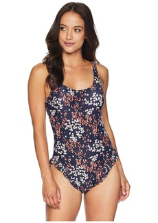 MICHAEL Michael Kors Scattered Blooms One-Piece Swimsuit w/ High Leg Ruffles & Removable Soft Cups