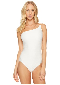 MICHAEL Michael Kors Sea Side Texture One Shoulder One-Piece Swimsuit w/ Ring Chain Trim & Removable Soft Cups