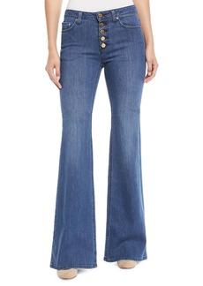 MICHAEL Michael Kors Selma Flare Button-Front Jeans