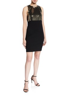 MICHAEL Michael Kors Sequin Bodice Sleeveless Sheath Dress