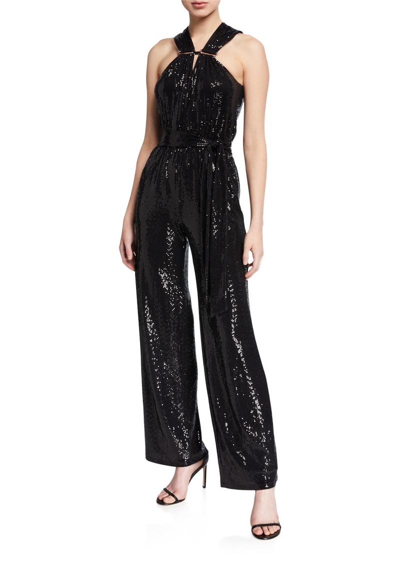 MICHAEL Michael Kors Sequin Halter-Neck Jumpsuit