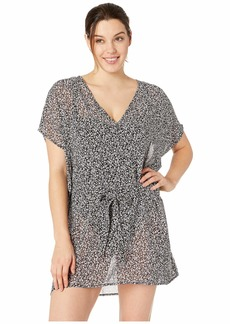 MICHAEL Michael Kors Shadow Floral Belted V-Neck Caftan Cover-Up