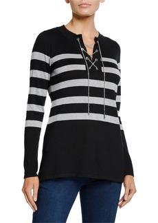 MICHAEL Michael Kors Shimmer-Stripe Lace-Up Tunic