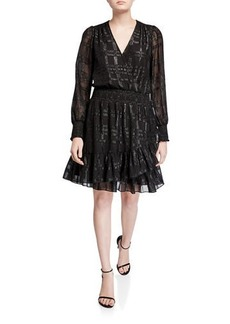 MICHAEL Michael Kors Shiny Plaid Long-Sleeve Smock-Waist Ruffle Dress