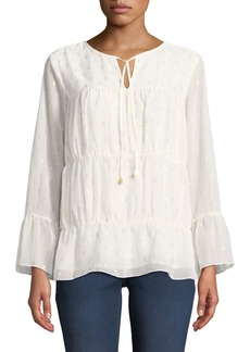 MICHAEL Michael Kors Shirred Blouse with Metallic Detailing