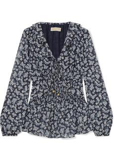 MICHAEL Michael Kors Shirred floral-print georgette blouse