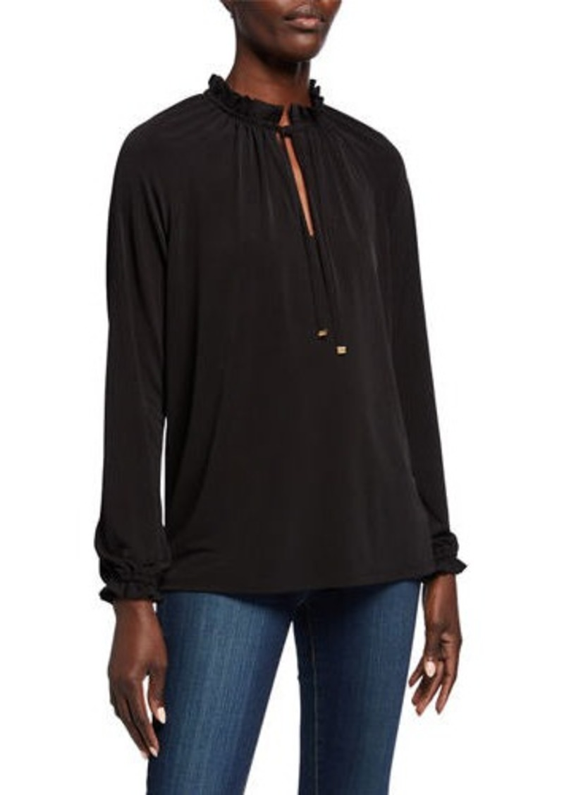MICHAEL Michael Kors Shirred High-Neck Long-Sleeve Top