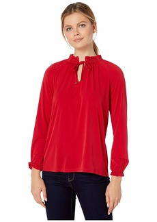 MICHAEL Michael Kors Shirred High Neck Top