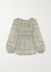 MICHAEL Michael Kors Shirred Paisley-print Chiffon Blouse