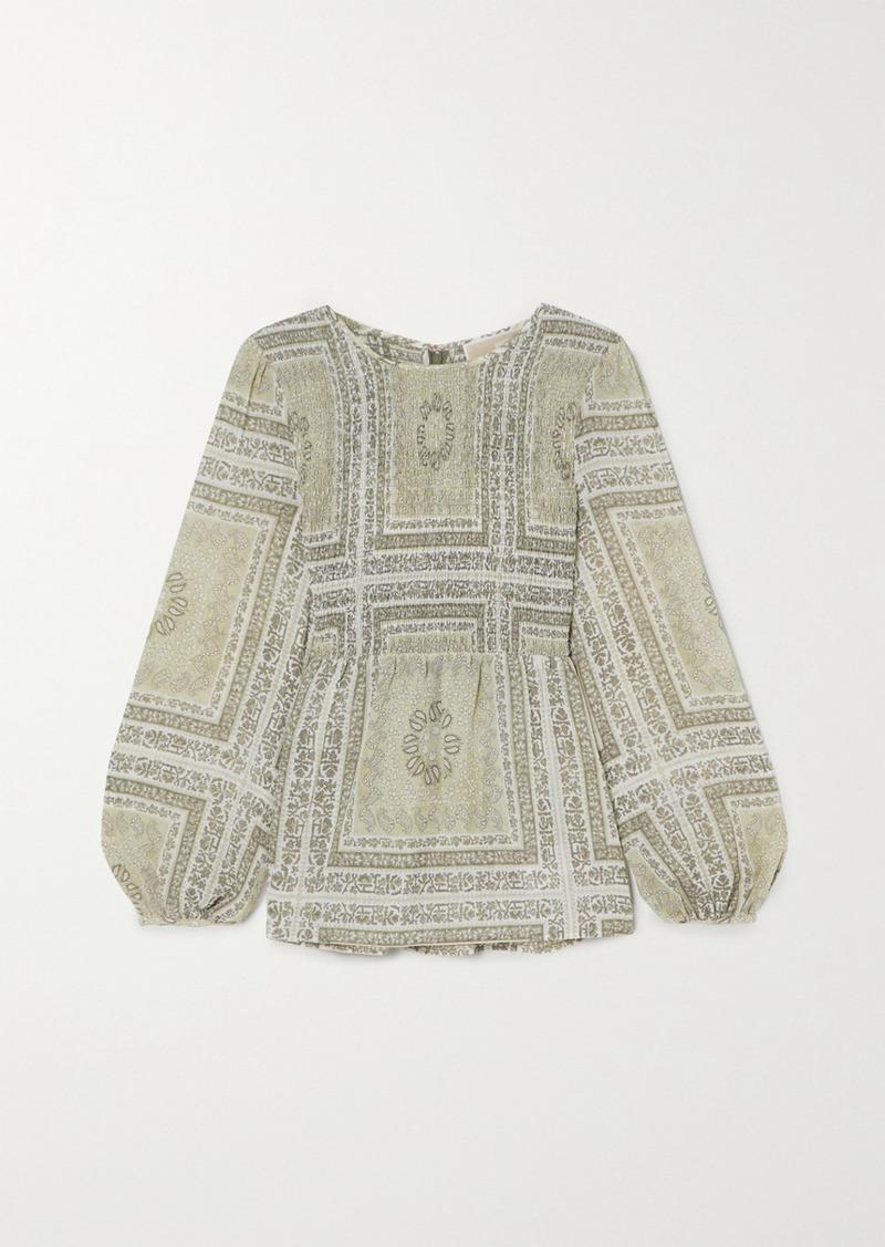Shirred Paisley-print Chiffon Blouse
