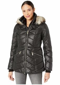MICHAEL Michael Kors Short Down with Faux Fur Trim Hood M424153TZ