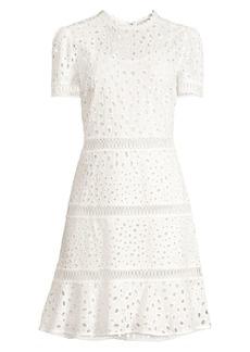 MICHAEL Michael Kors Short Sleeve Eyelet Flare Dress