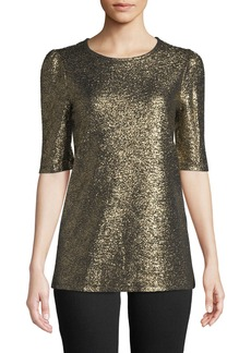 MICHAEL Michael Kors Short-Sleeve Foil Knit Top