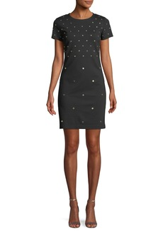MICHAEL Michael Kors Short-Sleeve Studded Shift Dress
