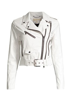 MICHAEL Michael Kors Shrunken Moto Faux Leather Jacket