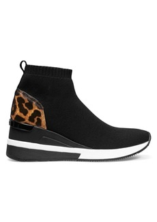 MICHAEL Michael Kors Skylar Leopard-Print Calf Hair & Mixed Media Sneaker Booties