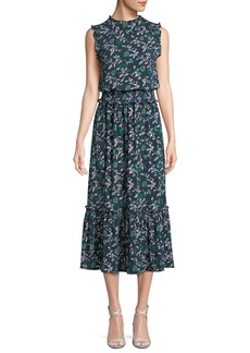 MICHAEL Michael Kors Sleeveless Boho Midi Dress w/ Smocked Waist