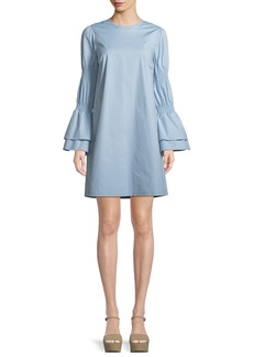 MICHAEL Michael Kors Smock-Sleeve Crewneck Shift Dress