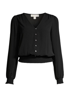 MICHAEL Michael Kors Smocked Button-Up Blouse