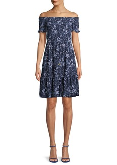 MICHAEL Michael Kors Smocked Off-the-Shoulder Floral-Print Dress