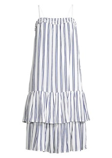 MICHAEL Michael Kors Smocked Stripe Tiered Drop-Waist Dress
