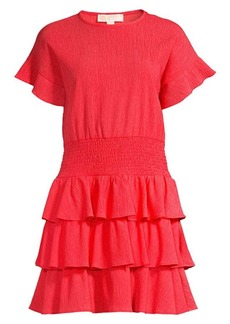 MICHAEL Michael Kors Smocked Waist Ruffled Crinkle Dress