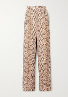 MICHAEL Michael Kors Snake-print Crepe De Chine Wide-leg Pants