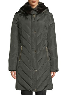 MICHAEL Michael Kors Snap-Button Quilted Down Fill Coat with Detachable Faux-Fur Collar