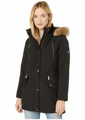 MICHAEL Michael Kors Snap Front Polyfill with Faux Fur Trim Hood M524503TZ