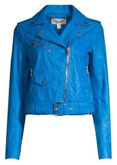 MICHAEL Michael Kors Soft Crinkle Leather Moto Jacket