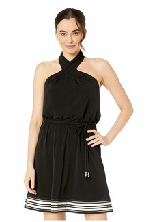 MICHAEL Michael Kors Solid Halter Border Dress