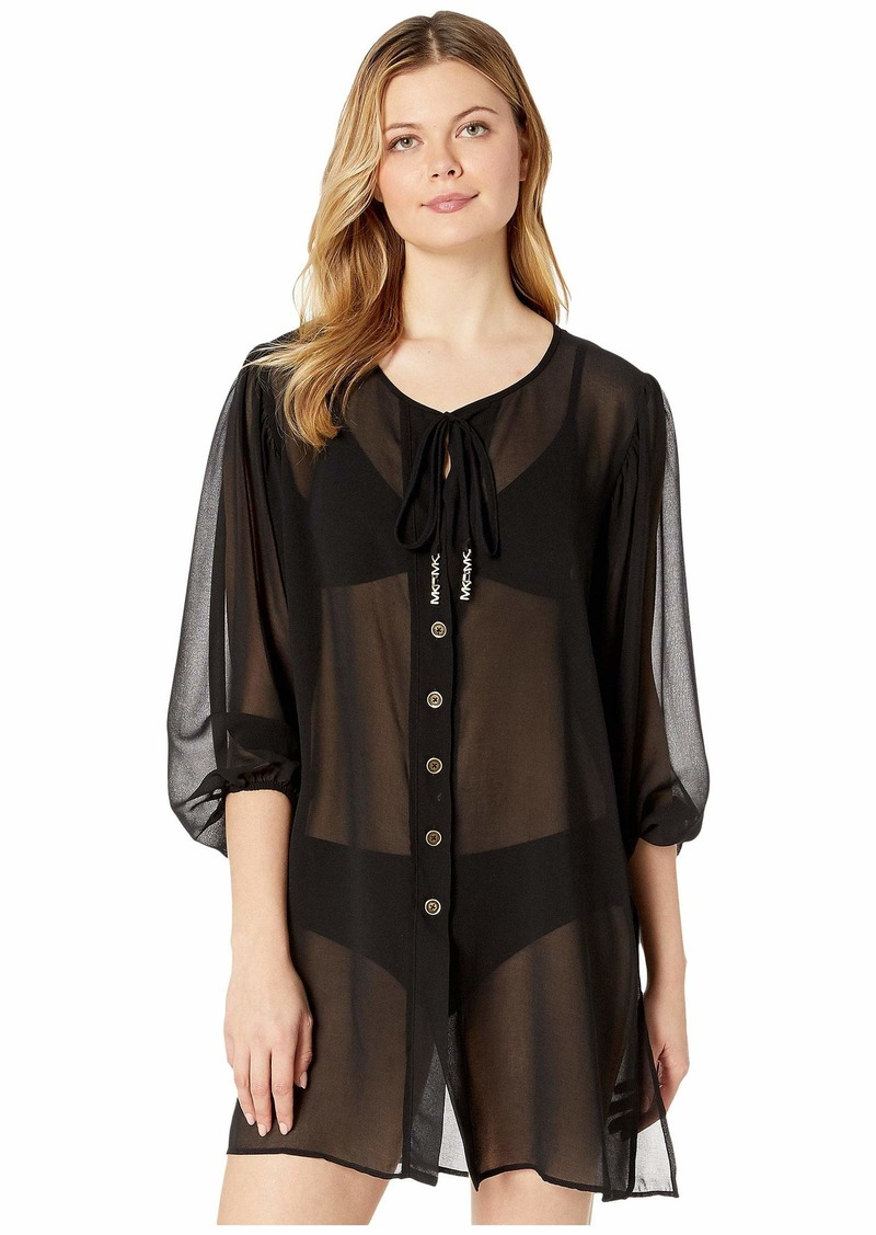 MICHAEL Michael Kors Solid Logo Chain Button Front Cover-Up Top