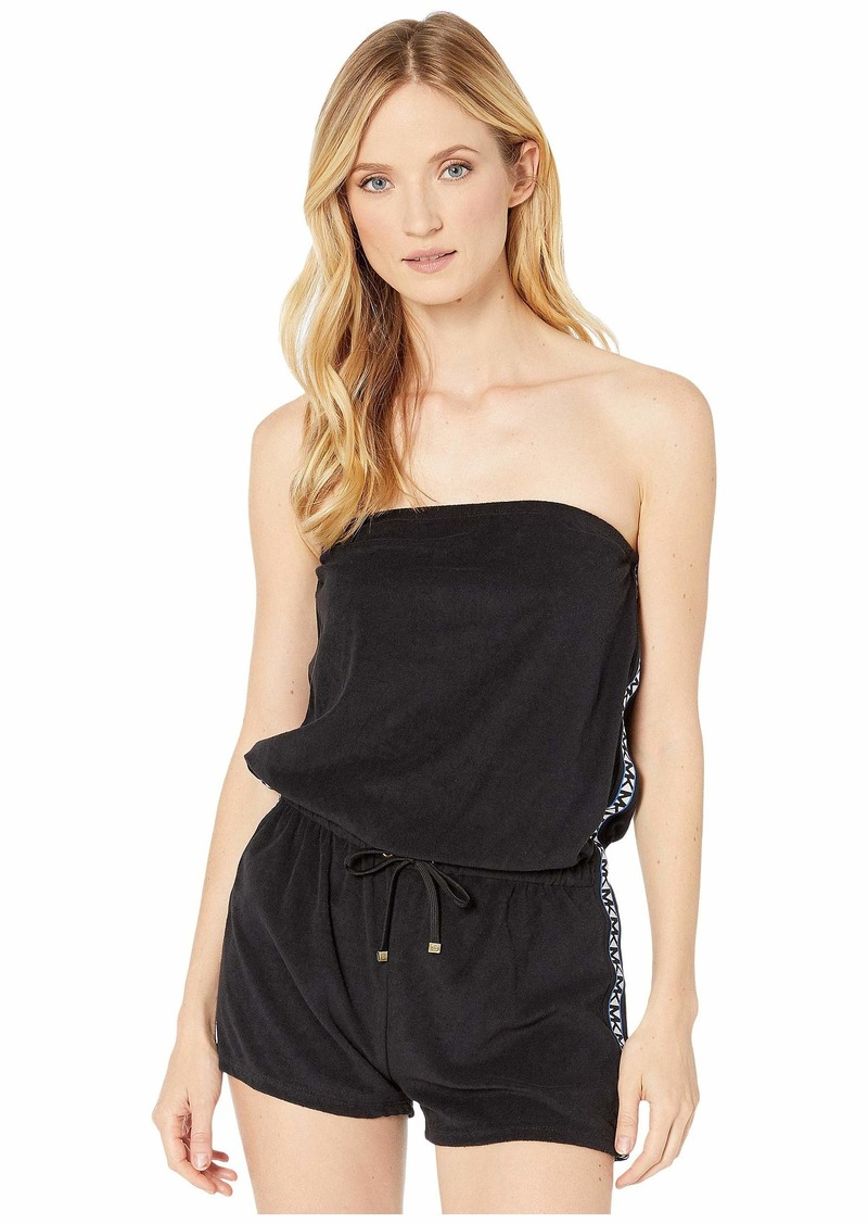 MICHAEL Michael Kors Solid Logo Strapless Cover-Up Romper