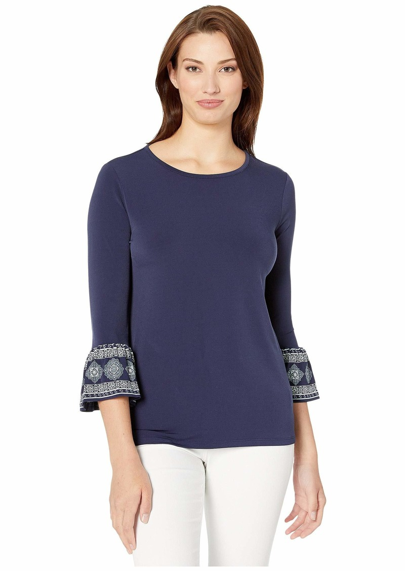 MICHAEL Michael Kors Solid Medallion Mix Sleeve Top