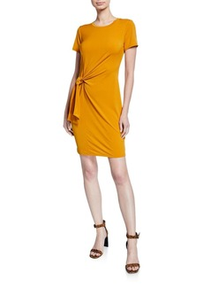 MICHAEL Michael Kors Solid Short-Sleeve Side-Tie Mini Dress