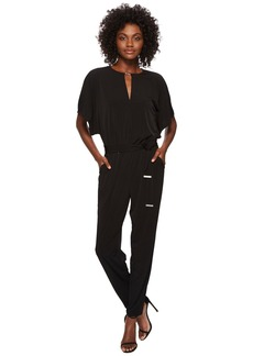 Solid Square Sleeve Jumpsuit