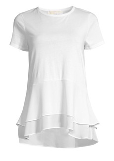MICHAEL Michael Kors Solid Woven Double Hem Top