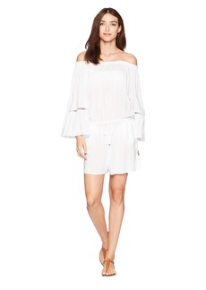 MICHAEL Michael Kors Solids Off the Shoulder Romper Cover-Up w/ Inset Ladder Trim